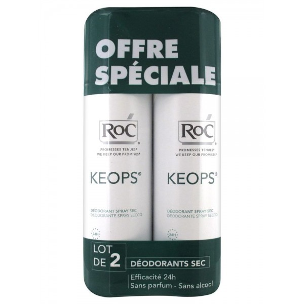 Roc keops spray déodorant sec lot de 2 x 150 ml