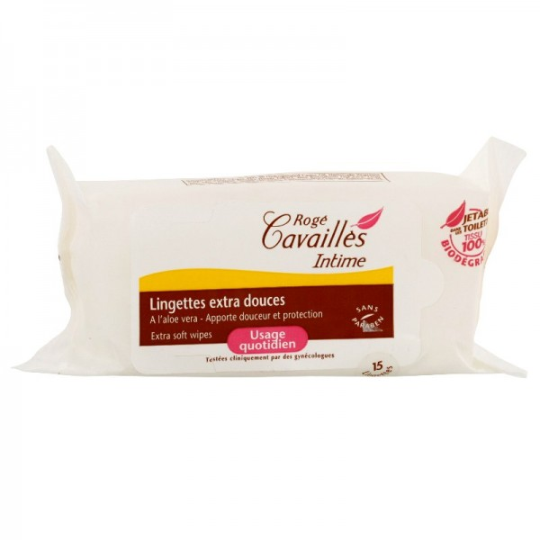 Rog&eacute cavaill&egraves lingettes intime extra-douces 15 lingettes