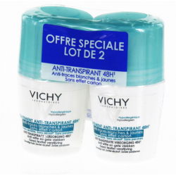 Vichy déodorant anti-transpirant anti-traces bille 48h lot de 2 x 50 ml