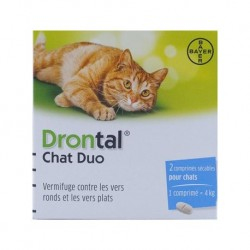Drontal chat duo vermifuges comprimés