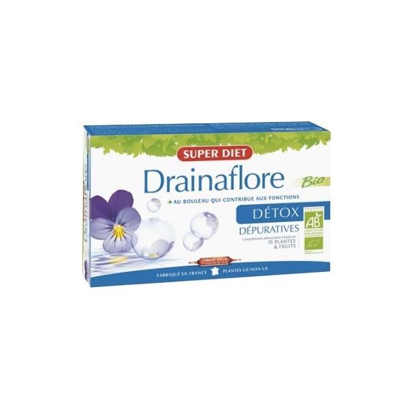 Super diet drainaflore bio détox 20 ampoules