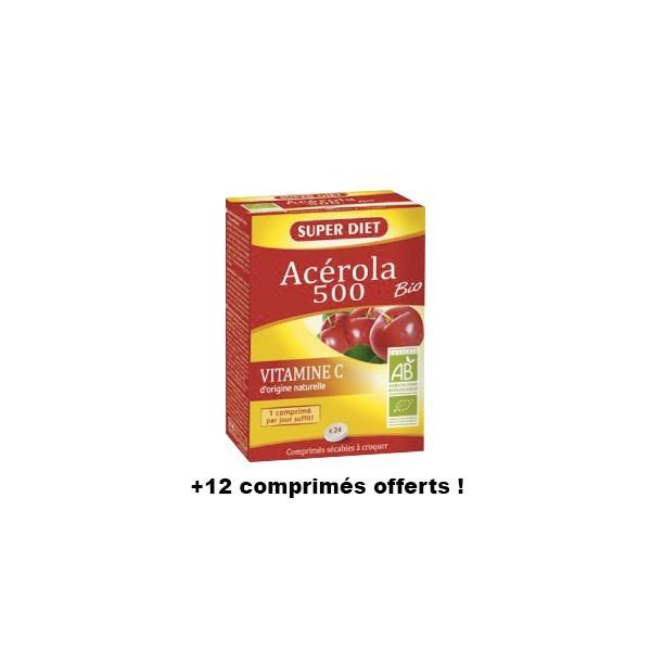 Super diet acérola 500 bio vitamine c 24 comprimés + 12 comprimés offerts