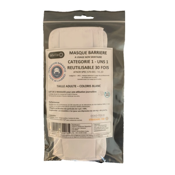 Alvita masque barrière lavable 30 fois S76-001 lot de 2