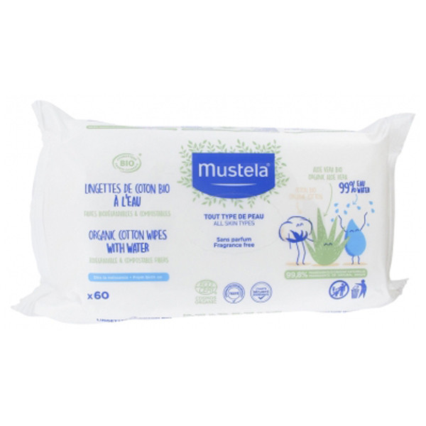 Mustela lingette de coton bio à l'eau x60