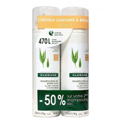 Klorane shampooing sec extra-doux teinté 2 x 150ml