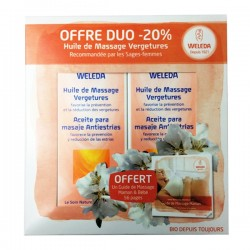 Weleda huile de massage vergetures lot de 2 x 100ml