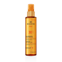 Nuxe sun huile bronzante visage et corps spf 30 150ml