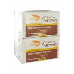Rogé cavaillès savon surgras extra-doux lait et miel lot de 3x250g + 1 gratuit