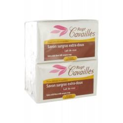 Rogé cavaillès savon surgras extra-doux lait de rose lot de 3x250g + 1 gratuit