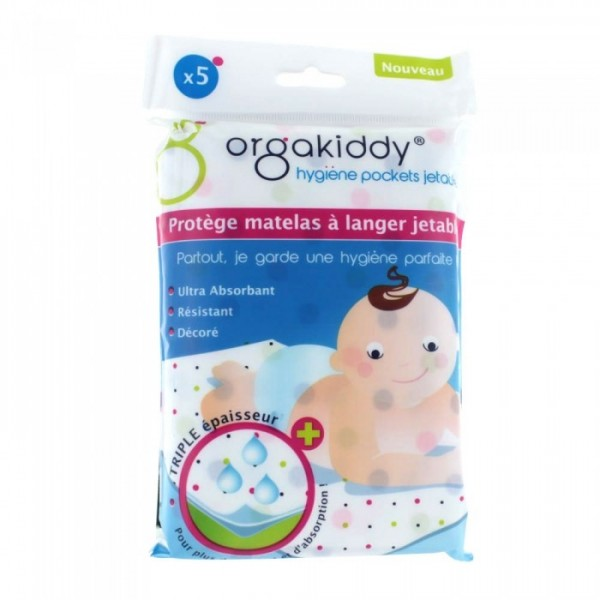 Orgakiddy protège matelas à langer jetables x 5
