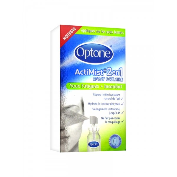 Optone actimist 2 en 1 spray oculaire yeux fatigués et inconfort 10ml