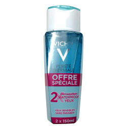 Vichy pureté thermale démaquillant waterproof yeux sensibles lot de 2x150ml