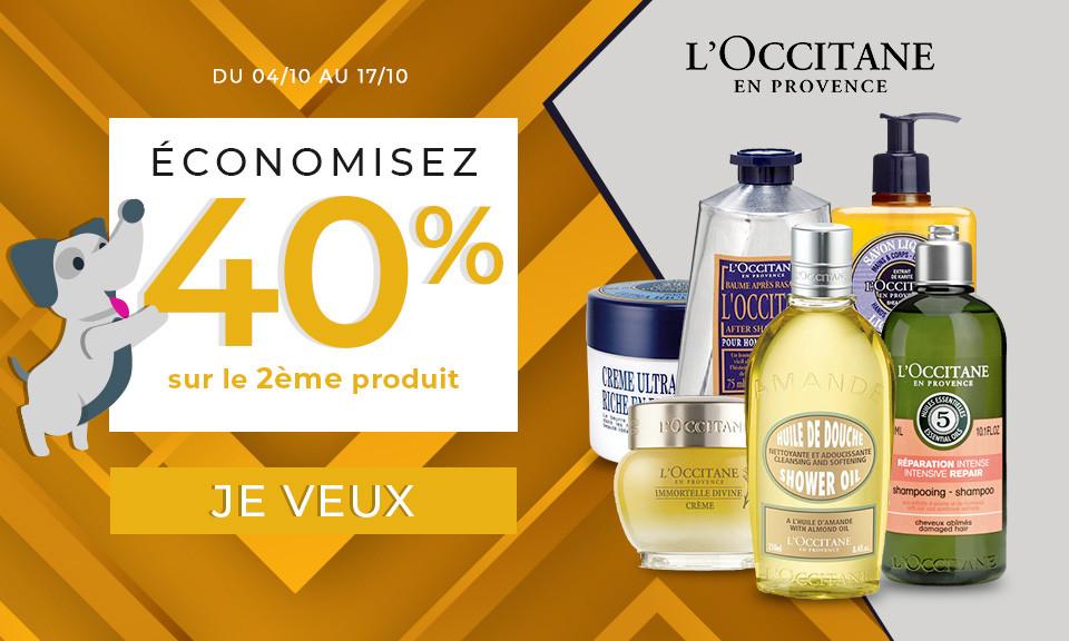 04/10 au 17/10 Occitane -40% sur 2ème